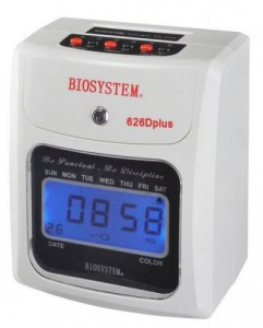 FACTORY TIME CLOCK 626Dplus (HEAVY USE) MODEL NO:BIOSYSTEM 626Dplus FEATURES: MELODY& EXTERNAL ALARM FULLY AUTO SILENT PRINTING BATTERY OR ELECTRIC OPERATE 2 COLOURS PRINT INDICATION OF IRREGULAR PUNCH FULL UPS BACK-UP BATTERY 6 COLUMNS CARD PRINTING PRICE:PLEASE ENQUIRE SIZE: Q193 x H244 x D123 mm(3KG) NOTE: PLEASE NOTE THAT IMAGE SHOWN ARE FOR ILLUSTRATION PURPOSE ONLY. ***PRICES ARE SUBJECT TO CHANGE WITHOUT PRIOR NOTICE***