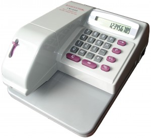 CHEQUE WRITER  MODEL NO:CW1600 PRICE:PLEASE ENQUIRE SPECS:14 CURRENCIES SGD, HKD, USD, GBP, EUR, RMB, JPY, CHF, DKK, THB, RP,NT, RM, PHP 14 PRINT DIGIT CHEQUE ISSUE CALCULATOR  DIMENSION:(185mm x 105mm x 235mm/2.2KG) NOTE: PLEASE NOTE THAT IMAGE SHOWN ARE FOR ILLUSTRATION PURPOSE ONLY. ***PRICES ARE SUBJECT TO CHANGE WITHOUT PRIOR NOTICE***