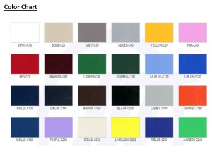 COLOUR CHART *COLOURS MAY VARY DUE TO LIGHTING OF INDIVIDUAL MONITOR SETTINGS.*