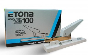 ETONA HEAVY DUTY STAPLER MODEL NO:E100 PRICE:$55.20/PC NOTE: PLEASE NOTE THAT IMAGE SHOWN ARE FOR ILLUSTRATION PURPOSE ONLY. ***PRICES ARE SUBJECT TO CHANGE WITHOUT PRIOR NOTICE***