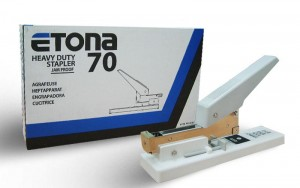 ETONA HEAVY DUTY STAPLER MODEL NO:E70 PRICE:$44.00/PC NOTE: PLEASE NOTE THAT IMAGE SHOWN ARE FOR ILLUSTRATION PURPOSE ONLY. ***PRICES ARE SUBJECT TO CHANGE WITHOUT PRIOR NOTICE***