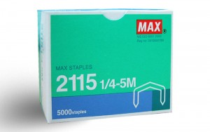 MAX 2115 STAPLES-REFILL MODEL NO:FOR 88R PRICE:$2.10/BOX(5000's) NOTE: PLEASE NOTE THAT IMAGE SHOWN ARE FOR ILLUSTRATION PURPOSE ONLY. ***PRICES ARE SUBJECT TO CHANGE WITHOUT PRIOR NOTICE***