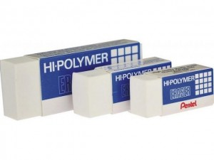 PENTEL HI-POLYMER ERASER  MODEL: ZEH03, ZEH05,ZEH10 PRICE: $0.35/PC (SMALL) $0.60/PC (MEDIUM) $0.90/PC (LARGE) NOTE: PLEASE NOTE THAT IMAGE SHOWN ARE FOR ILLUSTRATION PURPOSE ONLY.