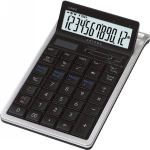 PRACTICAL CALCULATORS THE DESIGNER (COMPACT DESK)   MODEL: RT-7000 SPECS: 12 DIGITS  EXTRA LARGE DISPLAY PROFIT MARGIN % TWO WAY POWER KEY ROLLOVER TIME CALCU. DAY CALCU.  TAX AND EXCHANGE TILT DISPLAY PLASTIC KEYS [PLUS MINUS TIMES DIVIDE] COLOURS: BLACK WHITE
