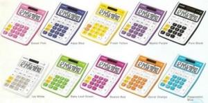 PRACTICAL CALCULATORS MY COLOUR SELECTION (MINI DESK)   MODEL: MS-10VCVC SPECS: 10 DIGITS EXTRA LARGE DISPLAY TIME CALCU. PROFIT MARGIN % TWO WAY POWER KEY ROLLOVER  TAX PLASTIC KEYS [PLUS MINUS TIMES DIVIDE] COLOURS: SWEET PINK AQUA BLUE FRESH YELLOW MYSTIC PURPLE PURE BLACK ICE WHITE BABY LEAF GREEN RADISH PINK PEPPERMINT BLUE CARROT ORANGE
