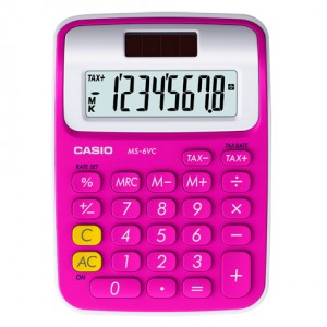 PRACTICAL CALCULATORS MY COLOUR SELECTION (MINI DESK)   MODEL: MS-6VC SPECS: 8 DIGITS  LARGE DISPLAY PROFIT MARGIN % TWO WAY POWER KEY ROLLOVER  TAX PLASTIC KEYS [PLUS MINUS TIMES DIVIDE] COLOURS: FRESH YELLOW BABY LEAF GREEN RADISH PINK PEPPERMINT BLUE