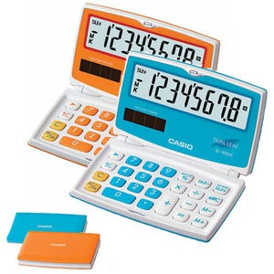 PRACTICAL CALCULATORS MY COLOUR SELECTION (PORTABLE)   MODEL: SL-100VC SPECS: 8 DIGITS LARGE DISPLAY PROFIT MARGIN % TWO WAY POWER KEY ROLLOVER  TAX DF COLOURS: PEPPERMINT BLUE CARROT ORANGE